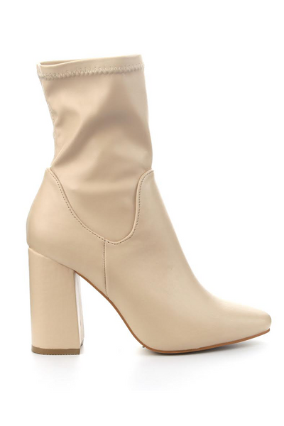 NUDE LEATHER LIKE BOOTIES