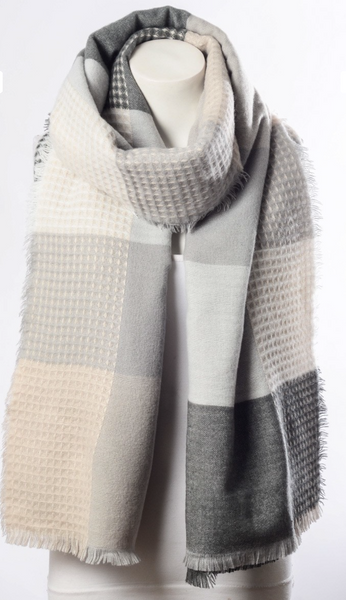 Grey and blush scarf