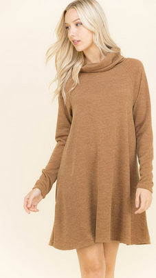 TURTLE NECK TAN DRESS
