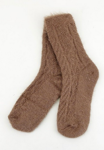 FURRY BROWN SOCKS