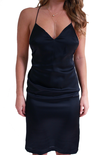 ELEGANT SILKY BLACK DRESS