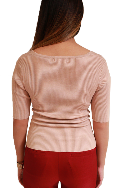 NUDE SHORT SLEEVE V-NECK RIBBED KNIT SWEATER TOP