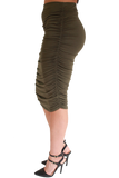 OLIVE RUCHED PENCIL SKIRT