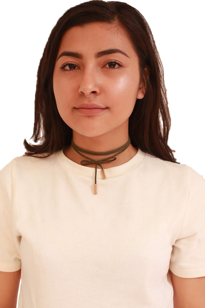 TIE ME UP CHOKER IN OLIVE