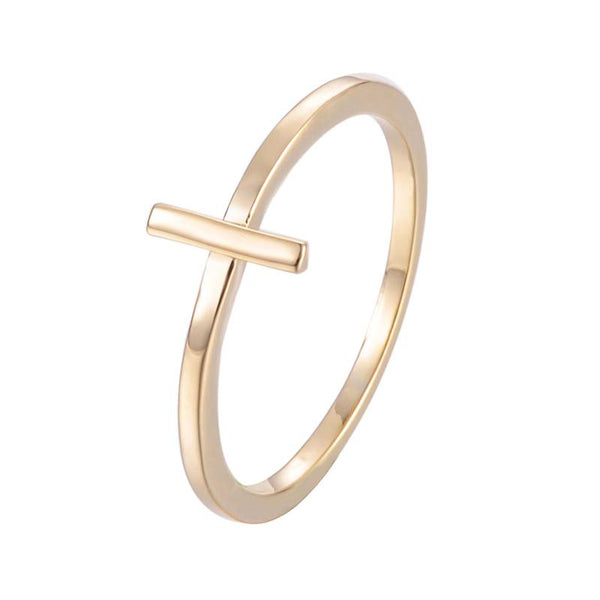 Cross Bar Copper Ring 18K Gold/Platinum Plated