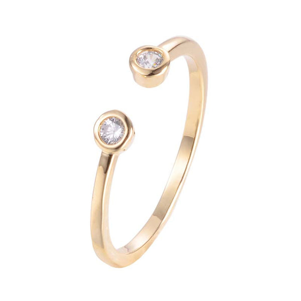 Round Open Adjustable Copper Ring With Zirconia 18K Gold/Platinum Plated