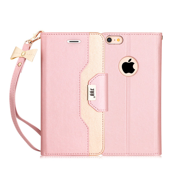 iPhone 6S Plus Case, FYY Premium PU Leather Wallet Case with Cosmetic Mirror and Bow-knot Strap for iPhone 6S Plus/6 Plus