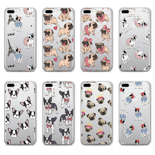 Pug Bunny French  Bulldog Soft Clear iPhone 5 5S SE 6 6S 6Plus 7 7Plus 8 8Plus X Phone Cover Case