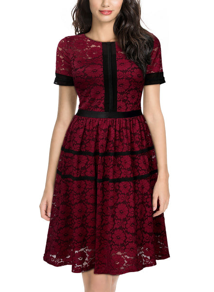 Vintage Full Lace Overlay Sexy Low-Cut Big Swing Dress