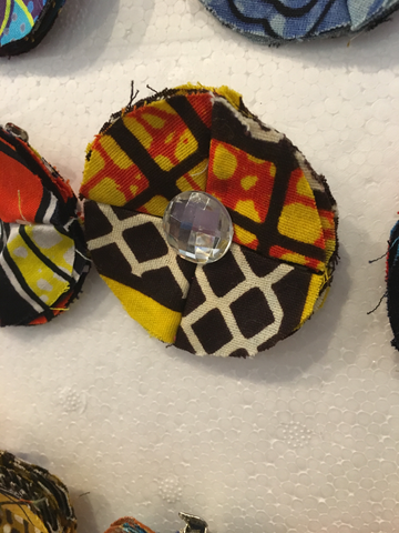 African Fabric Hair Clips