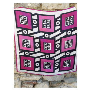KEY SUN SAGE / PINK KISS - Digital Printed TWILL Silk Scarf
