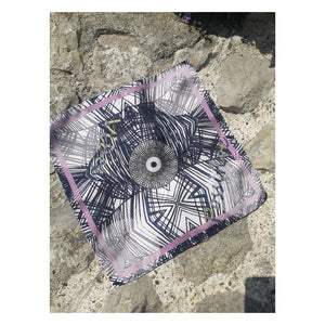 Positive Vibes (Colours of Aegean Sea) - Digital Printed Silk Square Scarf