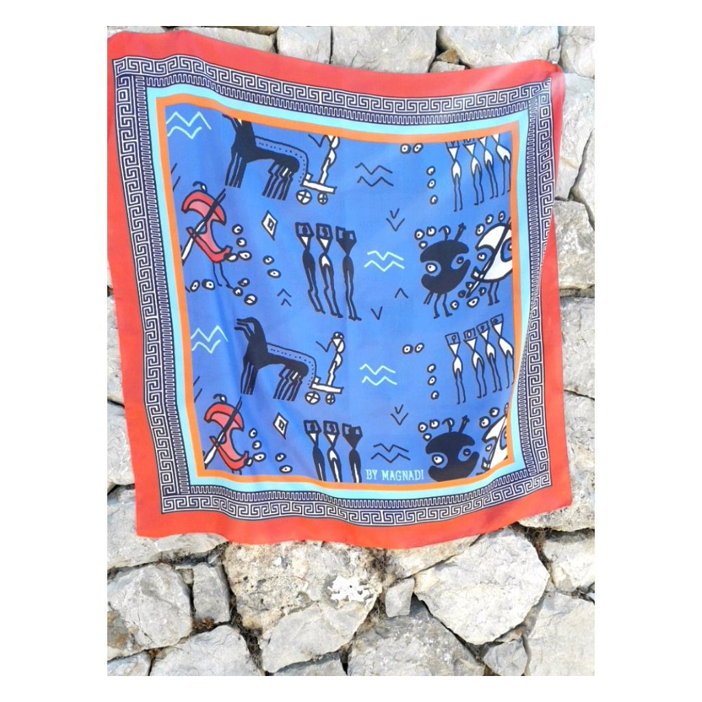Archaic Drawings - Digital Printed Square Silk Scarf