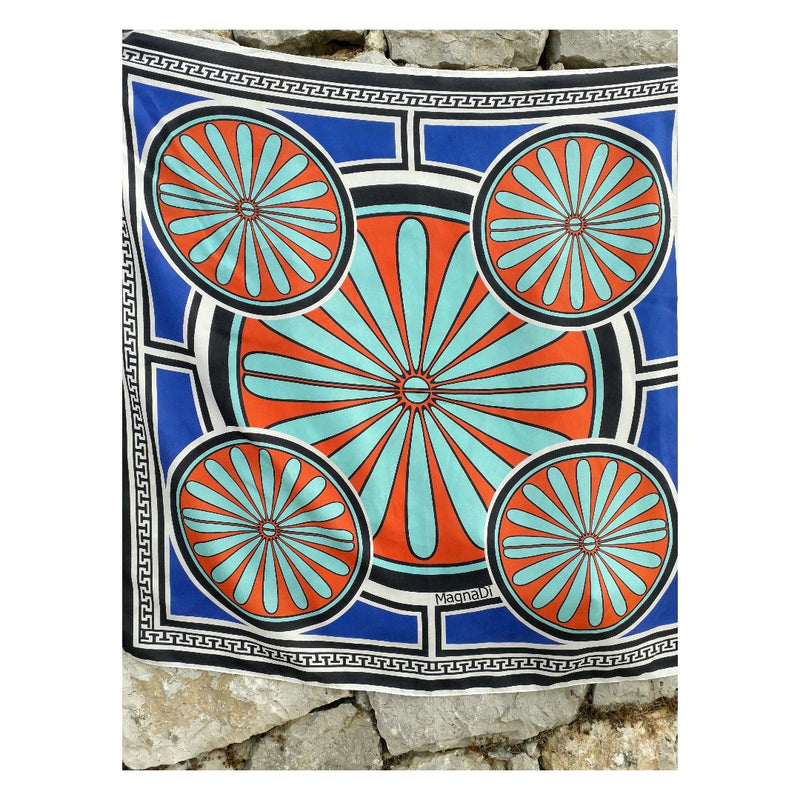 Villa Grande Blue Sea - Square Digital Printed Silk Scarf