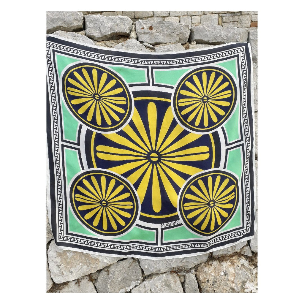 Villa Grande Yellow Green - Square Digital Printed Silk Scarf