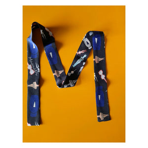 Cycladic Figurines - Digital Printed Silk Skinny Scarf