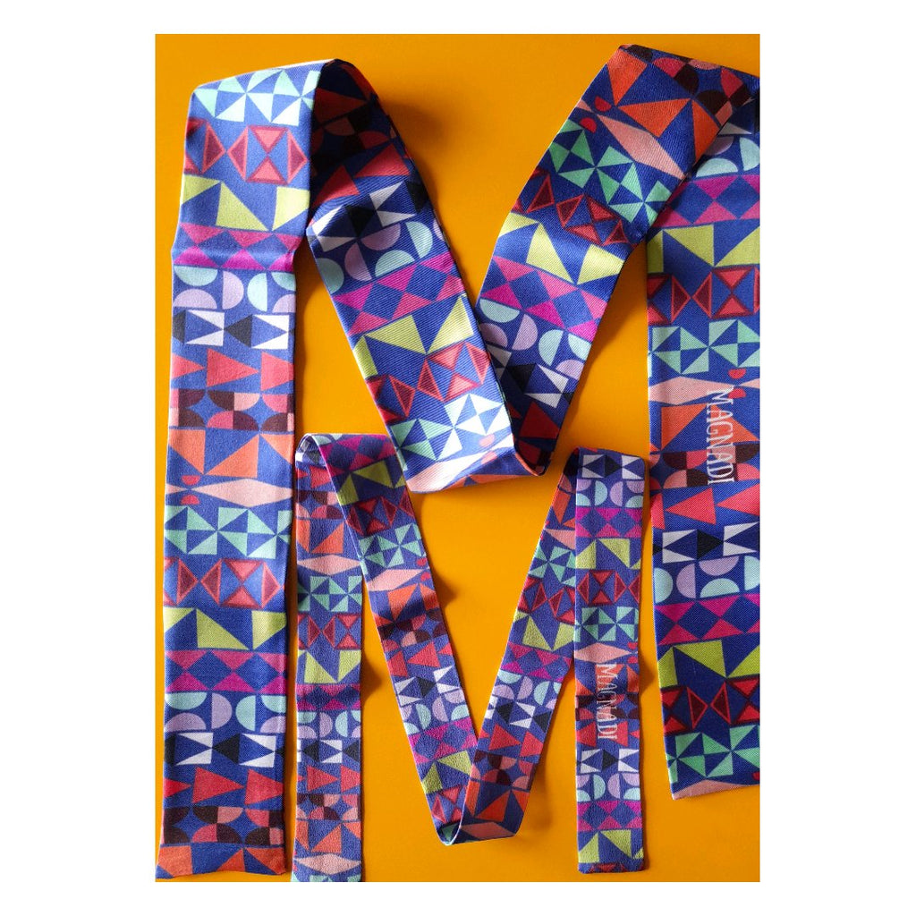 Chios Tiles - Digital Printed Silk Skinny Scarf