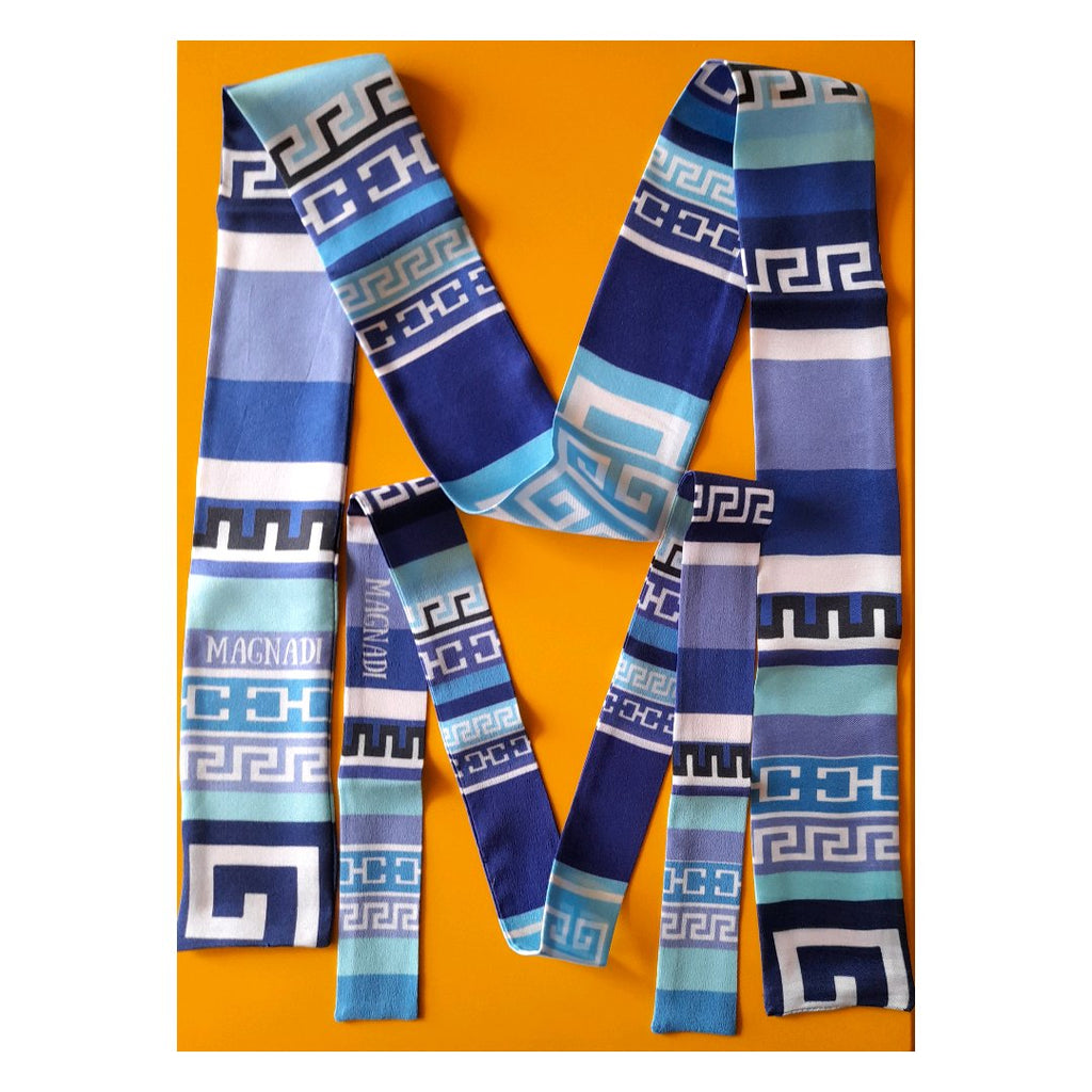 Greek Keys Combo - Digital Printed Silk Skinny Scarf