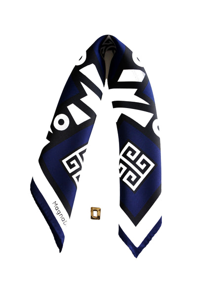 greek key meander bandana silk scarf digital print magnadiscarves