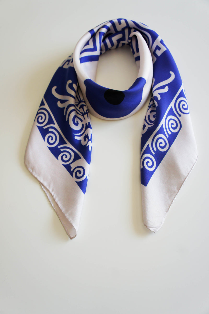 aegean blue print twill silk scarf magnadi collection made in greece