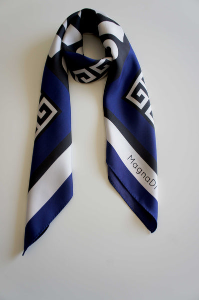greek key meander blue pattern silk scarf digital print magnadi scarves