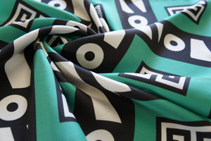 KEY SUN GREEN - Silk Twill Square Scarf Digitally Printed