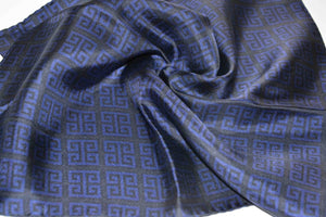 pocket square twill silk scarf blue made in greece