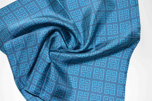 pocket square twill silk scarf turquoise made in greece