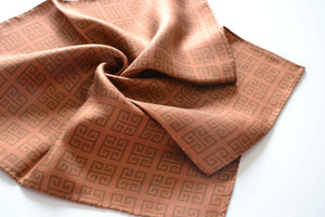 pocket square twill silk scarf brown made in greece