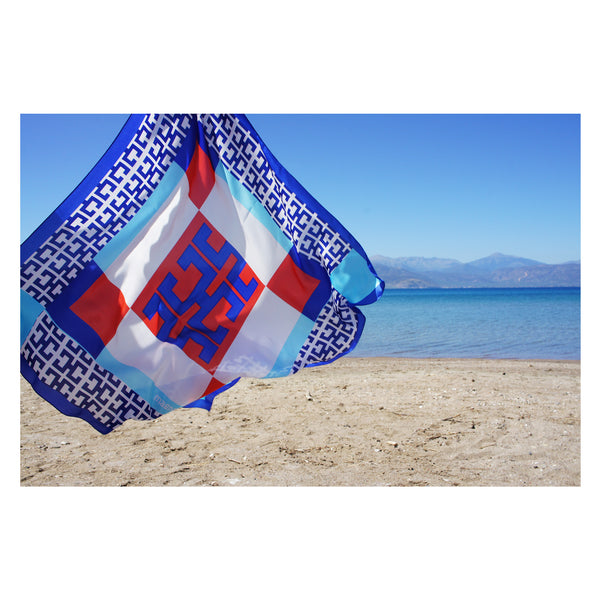 magnadi scarves made in Greece summer design printed silk scarves