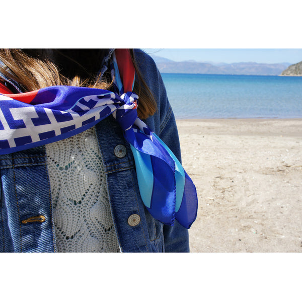 KEY CHAIN CYCLADES - Digitally Printed Square Silk Scarf