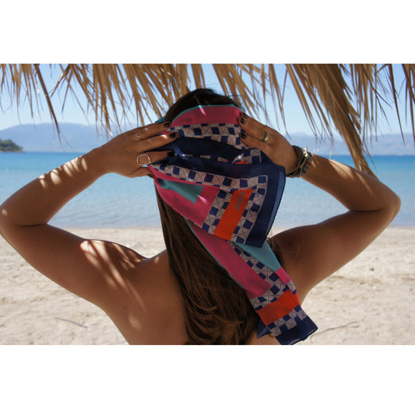 magnadi scarves Greek silk scarf Greek design Greek key summer prints