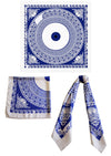 Aegean Blue - Silk Twill Digital Printed Square Scarf