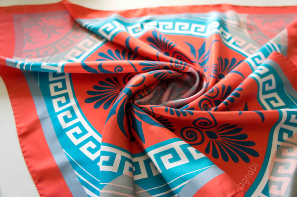 contemporary greek print silk scarf twill made in greece magnadi scarves stylish women accessory for her