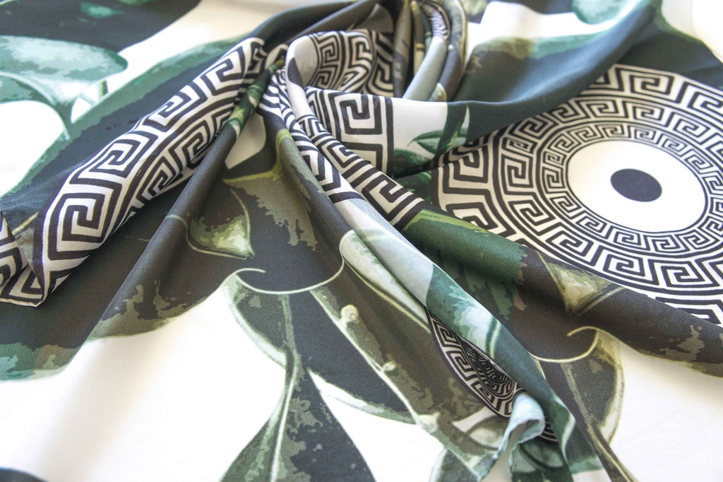 meander summer print sheer silk scarf made in greece magnadi collection