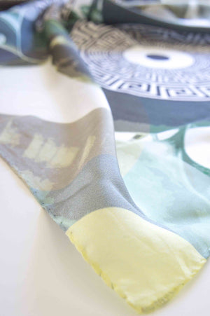 Green Leaves Key - Digital Printed Square Silk Scarf