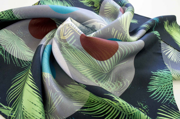 tropical greek design silk scarf twill printing greece