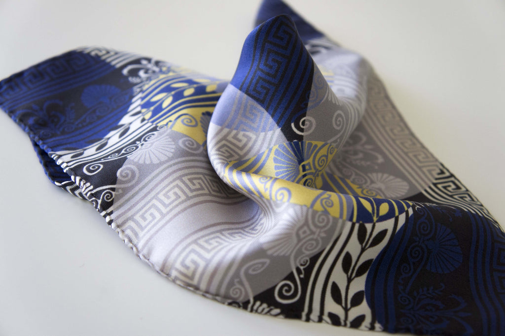 pocket square silk scarf made in greece magnadi scarves greek design
