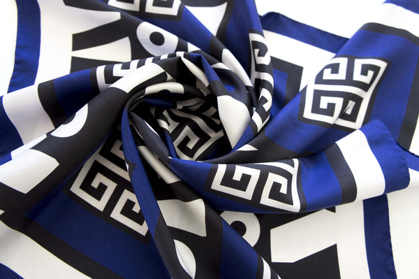 greek key meander blue pattern silk scarf digital print magnadiscarves