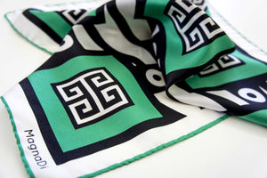 silk scarf greek key green scarf