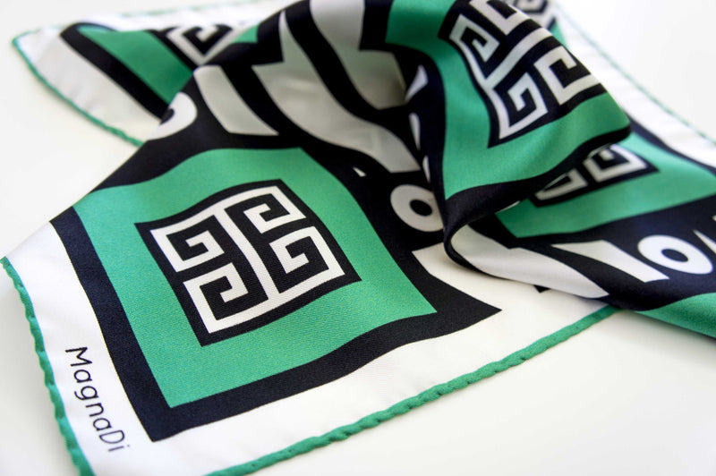 magnadi silk scarves digital print made in greece greek key green