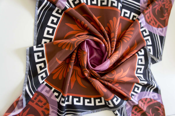 digital printed greek silk scarf twill ancient greek