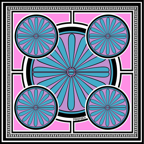 Villa Grande Pink  NEON - Square Silk Scarf Digitally Printed