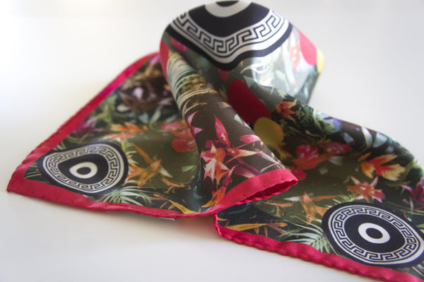 tropical pocket square silk scarf made in greece magnadi scarves