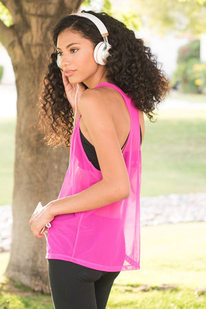 Hot Pink Mesh Tank - Mosquito Repellent Clothing - Peskys Insect Repellent Clothing