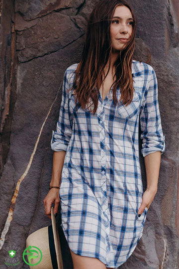 Plaid Shirt Dress - Peskys Insect Repellent Clothing