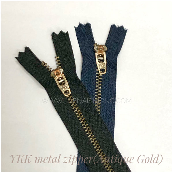 YKK metal Zipper in Antique-gold Finish