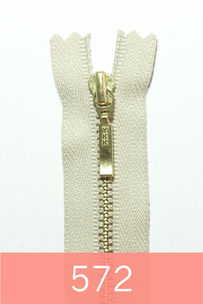 YKK Metal Zipper Gold 12IN with square drop puller