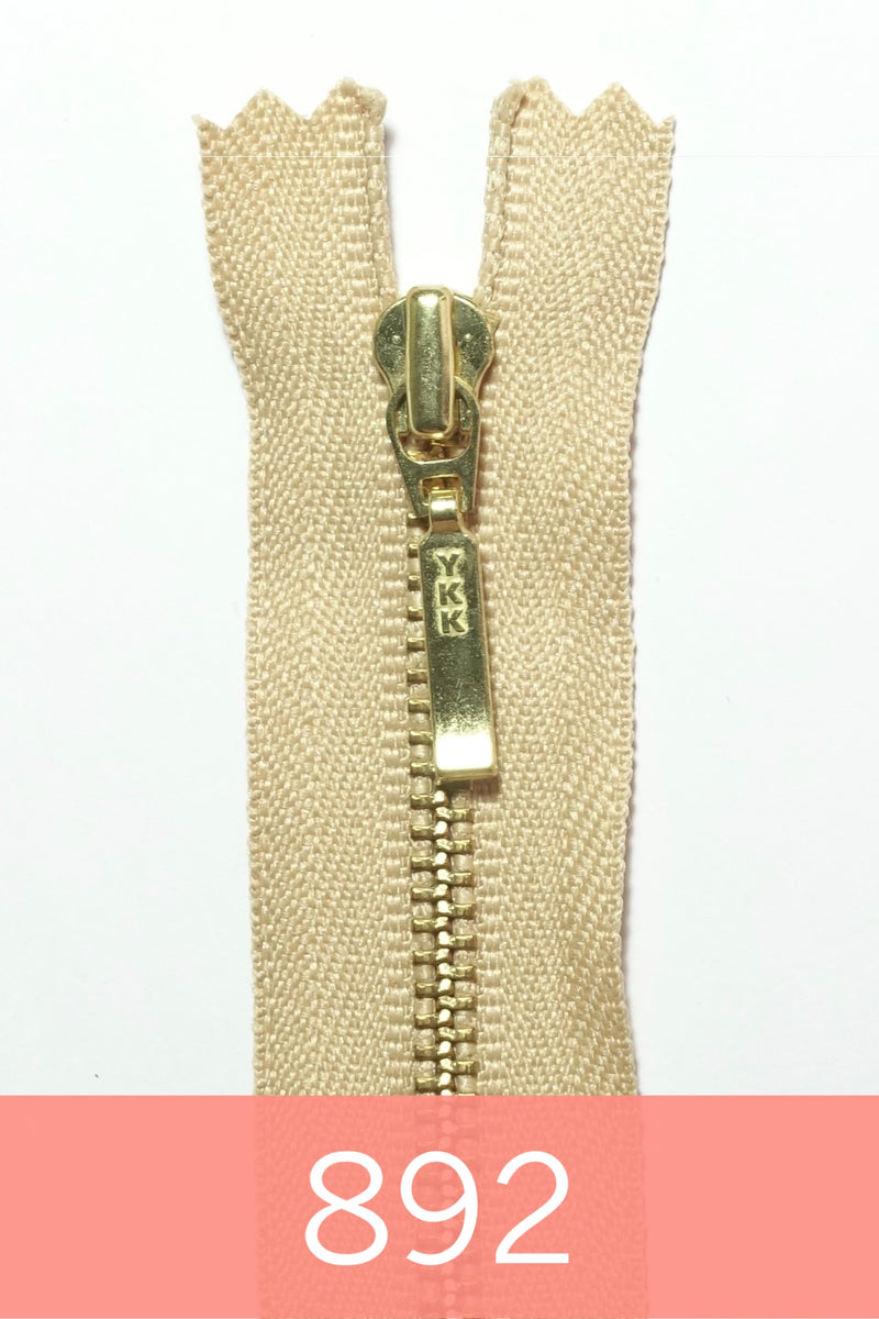 YKK Metal Zipper Gold 16IN with square drop puller