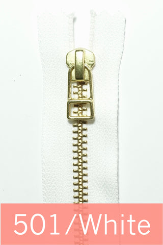 YKK Gold Metal Zipper with wire puller  (9 inches)
